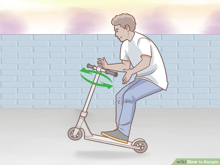 how to do a barspin on a scooter flat
