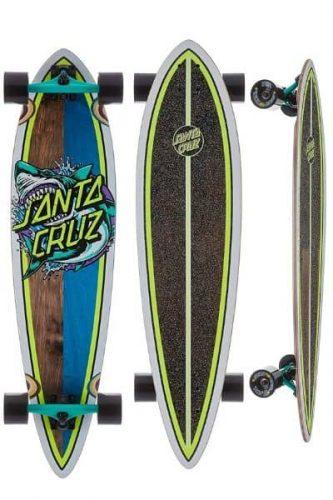 santa cruz shark dot pintail longboard
